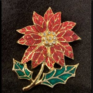 Jewelry - Poinsettia brooch is Gold, rhinestones and enamel